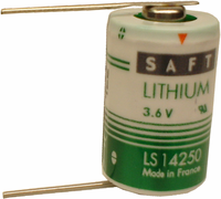SAFT LS 14250 Lithium Battery with Solder Pins, 1/2AA-Size 3.6 Volts