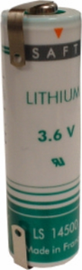 SAFT LS 14500 Lithium Battery with Solder Tabs, AA-Size 3.6 Volts