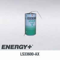 SAFT LS 33600 Lithium Battery with Axial Leads, D-Size 3.6 Volts