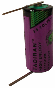 Tadiran TL-5955 Lithium Battery with Solder Pins, 2/3AA-Size 3.6 Volts