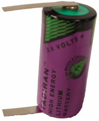 Tadiran TL-5955 Lithium Battery with Solder Tabs, 2/3AA-Size 3.6 Volts
