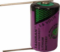 Tadiran TLL-5902 Lithium Battery with Solder Pins, 1/2AA-Size 3.6 Volts