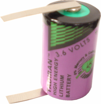 Tadiran TLL-5902 Lithium Battery with Solder Tabs, 1/2AA-Size 3.6 Volts