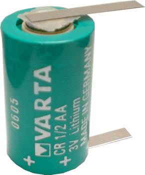 Varta CR1/2AA Lithium Battery with Solder Tabs, 1/2AA-Size 3 Volts