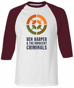 Ben Harper & The Innocent Criminals Burgundy Raglan Unisex Tee