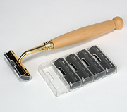 Kingsley razor  with 4 replacement blades-natural wood
