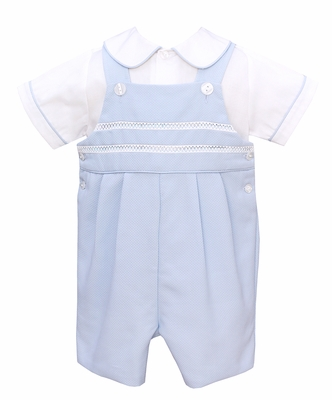 Anavini Baby Boys Blue Pique Jon Jon with Shirt - Embroidery Trims
