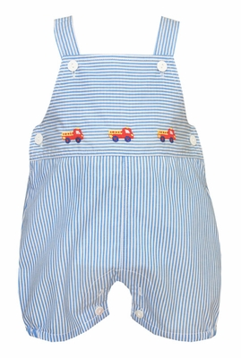 Anavini Baby Boys Blue Striped Overall - Embroidered Fire Trucks