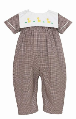 Anavini Baby Boys  - Yellow Giraffes on Square Collar - Brown Check Romper