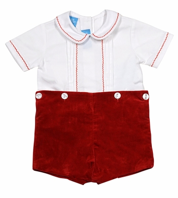 Anavini Couture Baby / Toddler Boys Christmas Red Velvet Button On Shorts Outfit