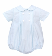Anavini Baby Boys Double Breasted Turquoise Blue Striped Bubble