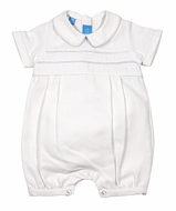 Anavini Baby Boys Dressy White Waffle Pique Romper with Trim