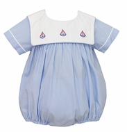 Anavini Baby Boys French Blue Check - Embroidered Sailboats Collar - Bubble