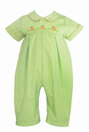 Anavini Baby Boys Green Check Embroidered Pumpkins Romper