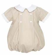 Anavini Baby Boys Khaki Tan Stripe Bubble with White Collar