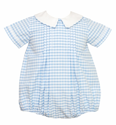 Anavini Baby Boys Bubble - Blue Gingham with White Collar