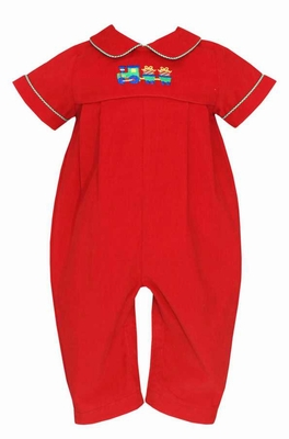 Anavini Baby Boys Red Corduroy Christmas Gifts Train Romper