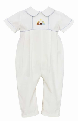 Anavini Baby Boys Winter White Corduroy Christmas Nativity Romper