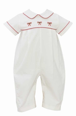 Anavini Baby Boys Winter White Corduroy Embroidered Candy Canes Romper