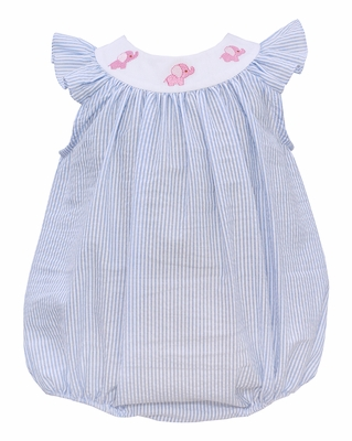 Anavini Baby Girls Blue Stripe Seersucker Bubble - Pink Elephants