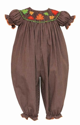 Anavini Baby Girls Brown Check Smocked Fall Leaves Long Bubble Romper