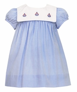 Anavini Baby Girls French Blue Check - Embroidery Sailboats Collar - Float Dress