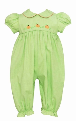 Anavini Baby Girls Green Check Embroidered Pumpkins Long Bubble Romper
