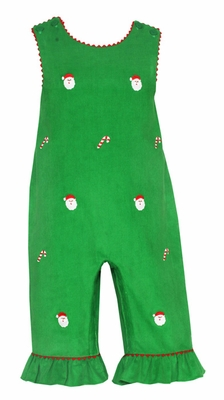 Anavini Baby Girls Green Corduroy / Embroidered Santa Faces - Ruffle Romper