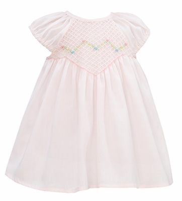 Anavini Baby Girls Light Pink Swiss Batiste Smocked Sophia Float Dress with Bloomers