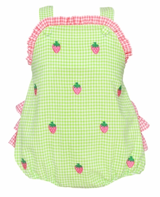 Anavini Baby Girls Lime Green Seersucker Embroidered Strawberry Ruffle Bubble