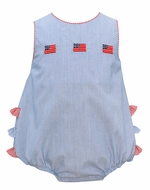 Anavini Baby Girls Navy Blue Stripe Patriotic Flags Ruffle Bubble