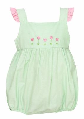 Anavini Baby Girls Pastel Green Bubble - Pink Flutter Sleeves & Tulips