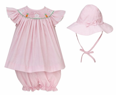 Anavini Baby Girls Pink Check Smocked Easter Bunny Bloomers Set with Hat