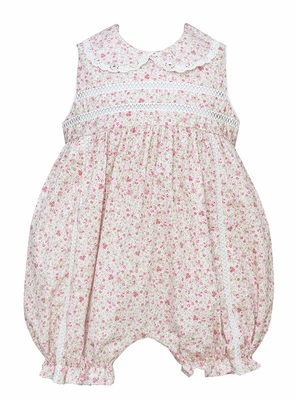 Anavini Baby Girls Pink Floral Sleeveless Bubble - Embroidery and Lace Trim