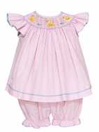 Anavini Baby Girls Pink Gingham Smocked Yellow Ducky Bloomers Set