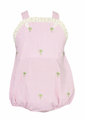 Anavini Baby Girls Pink Striped Embroidered Palm Trees Ruffle Bubble