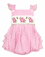 Anavini Baby Girls Pink / White Dots Ruffle Bubble - Smocked Flowers & Bees