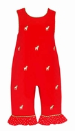 Anavini Baby Girls Red Corduroy / Embroidery Reindeer Ruffle Romper