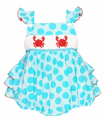 Anavini Baby Girls Turquoise Dots Smocked Crabs Ruffle Cross Back Bubble