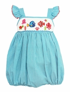 Anavini Baby Girls Turquoise Gingham Bubble - Smocked Nemo Under the Sea - Exclusively at The Best Dressed Child