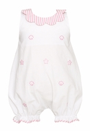 Anavini Baby Girls White Seersucker / Pink Embroidery Sea Shells Bubble