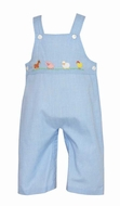 Anavini Baby / Toddler Boys Blue Check Farm Animals Overall Longall