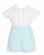 Anavini Baby / Toddler Boys Aqua / Blue Striped Seersucker Shorts Set