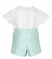 Anavini Baby / Toddler Boys Aqua Check Silk Dressy Button On Shorts Set