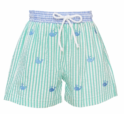 Anavini Baby / Toddler Boys Aqua Stripe Seersucker Embroidered Whales Swim Trunks