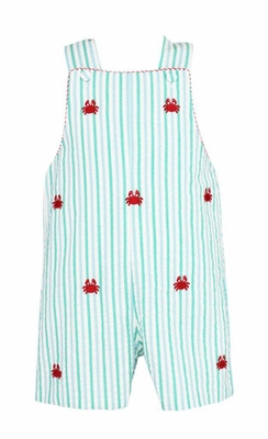 Anavini Baby / Toddler Boys Aqua Stripes Embroidered Crabs Jon Jon