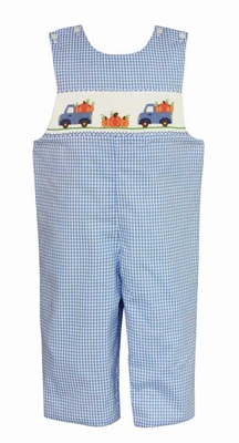 Anavini Baby Boys Blue Gingham Smocked Pumpkins Truck Longall