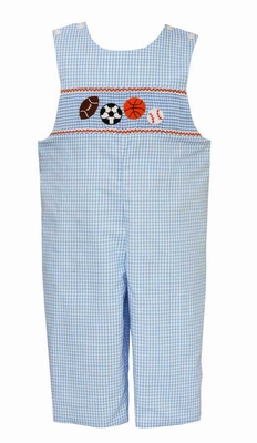 Anavini Baby / Toddler Boys Blue GIngham Smocked Sports Balls Longall