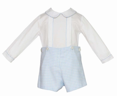Anavini Baby / Toddler Boys Blue Gingham Brushed Cotton Button On Short Outfit