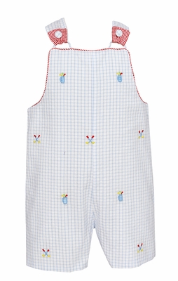 Anavini Baby / Toddler Boys Blue Seersucker Golf Embroidery Overall